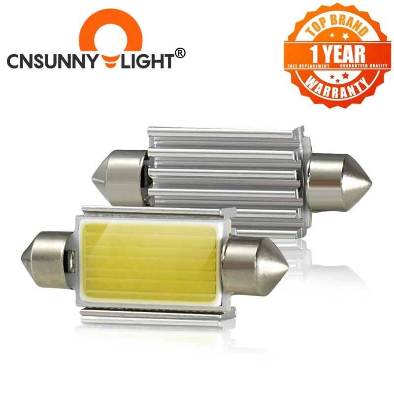 Cnsunnylight lâmpada led canbus c10w, lâmpada para área interna, lâmpada de leitura, 31, 36, 39 e 41mm lâmpadas automotivas brancas