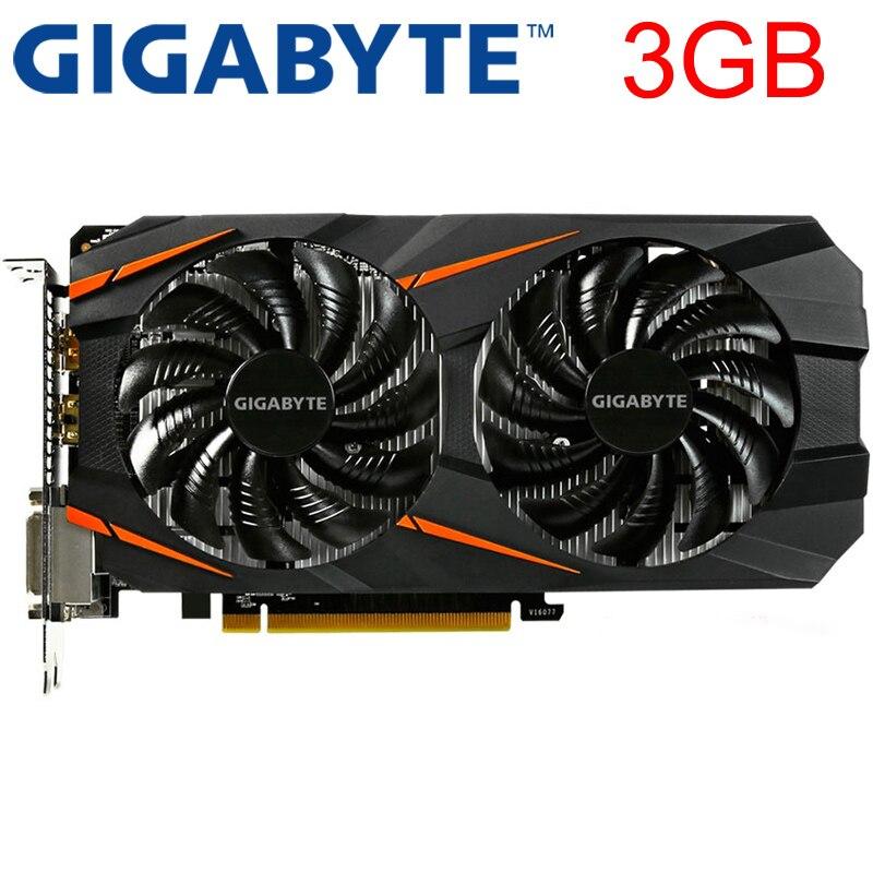 Видеокарта GIGABYTE GTX 1060, 3 ГБ, 192 бит, GDDR5, оригинальные б/у видеокарты для nVIDIA, видеокарты Geforce GTX 1050 Ti HDMI 750 960-0