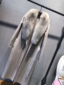 Image 4 - OFTBUY 2020 เสื้อแจ็คเก็ตสตรีฤดูหนาวขนสัตว์จริงขนสุนัขจิ้งจอกธรรมชาติ COLLAR CASHMERE ผสมผ้าขนสัตว์ยาว Outerwear เข็มขัดสุภาพสตรี Streetwear