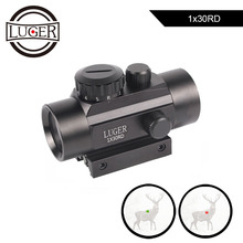 LUGER 1x30 Red Green Dot Sight Scope Holographic Optics Air Gun Rifle Scope 11/ 20mm Rail Tactical Sight Hunting Riflescope