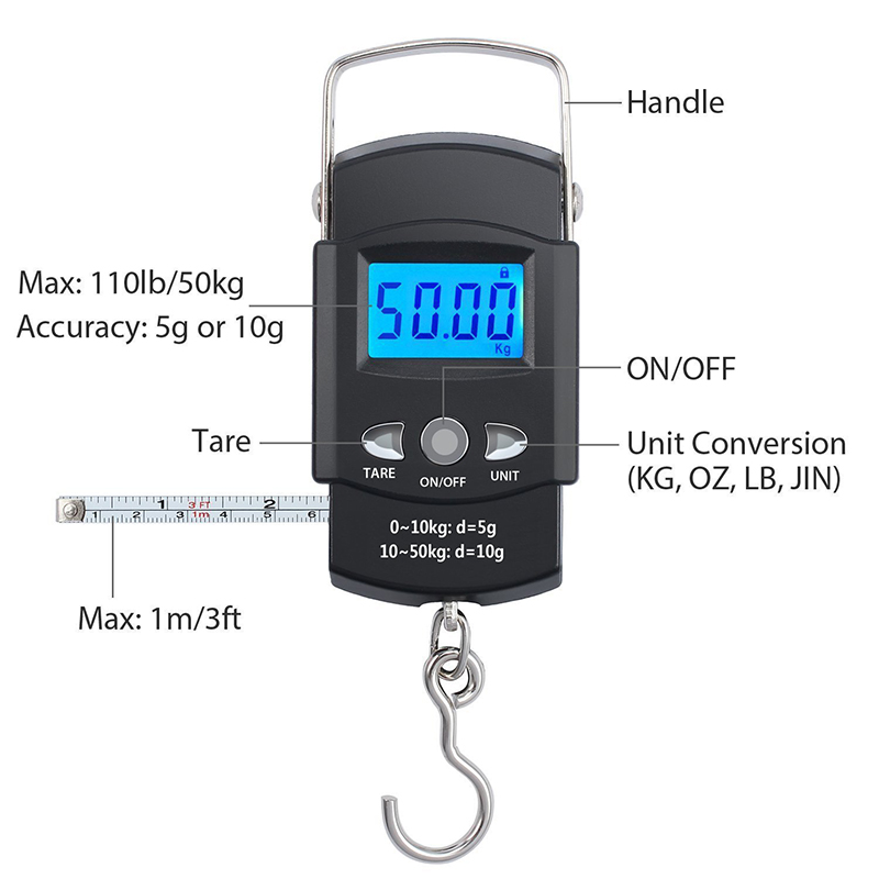 110lb/50kg Electronic Balance Digital Fishing Postal Hanging Hook Scale With Measuring Tape Backlit LCD Display Digital Scale
