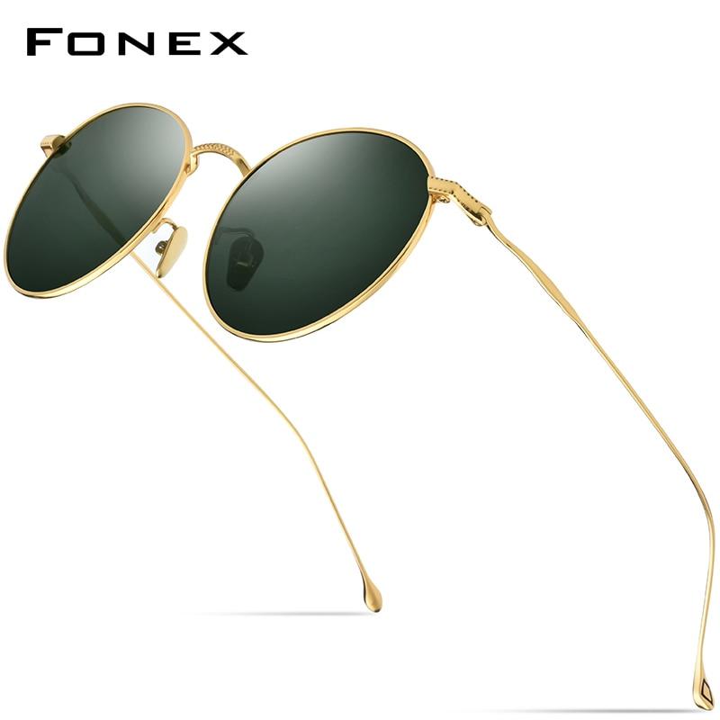 FONEX Pure Titanium Sunglasses Men Vintage Small Round Polarized Sun Glasses For Women 2019 Retro High Quality UV400 Shades 8508