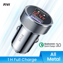 FIVI car charger for mobile phone Fast charge QC 3.0 Digital LED Voltage Display usb charger for samsung huawei xiaomi All metal(China)