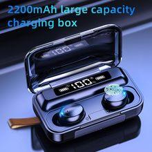 Auriculares inalámbricos TWS con micrófono y caja cargador de 2200 mAh, auricular sin cables deportivo 9D, cascos estéreo resistentes al agua con Bluetooth 5.0