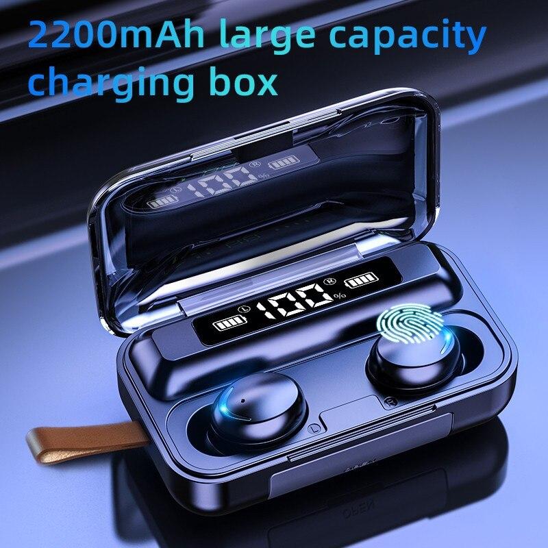 Écouteurs sans fil TWS Bluetooth 5.0, avec boîtier de recharge 2200 mAh, étanches, stéréo 9D, avec microphone, pour le sport |