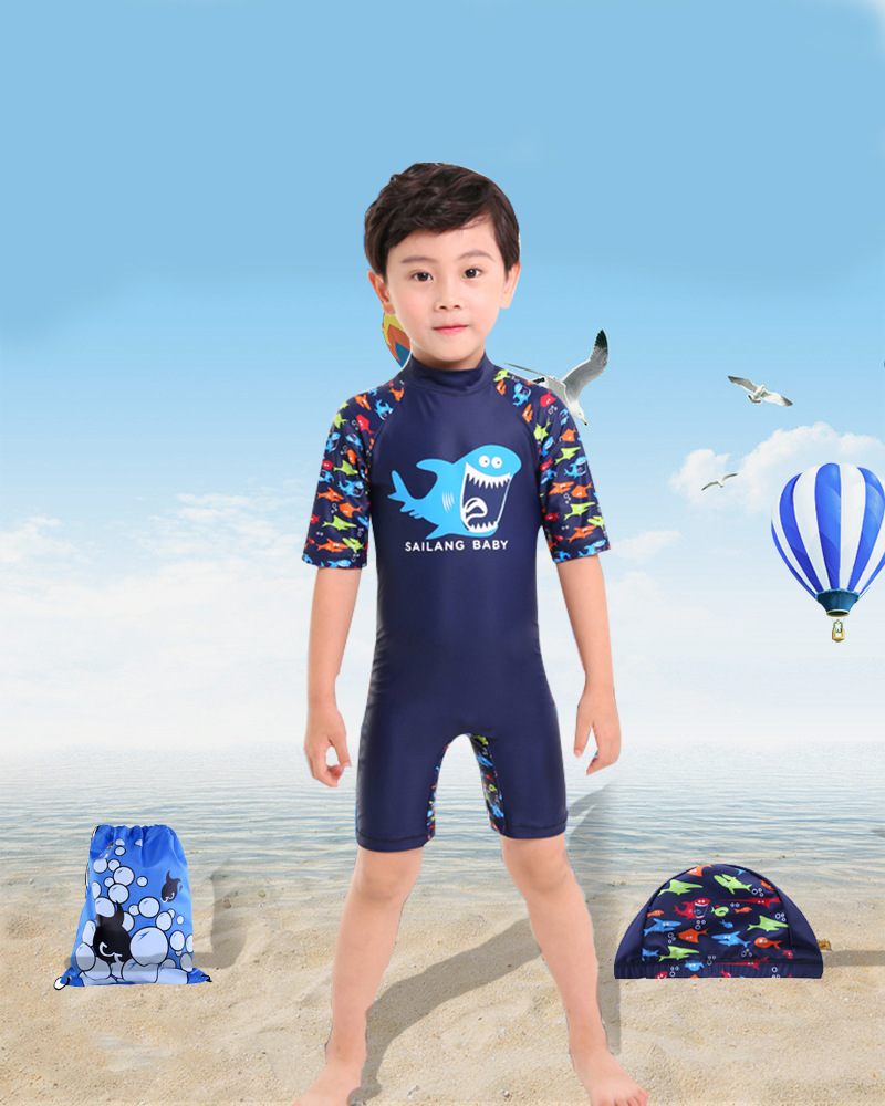 KID'S Swimwear Big Boy One-piece Swimming Suit Men And Women Kids Korean-style New Style Swimming Suit