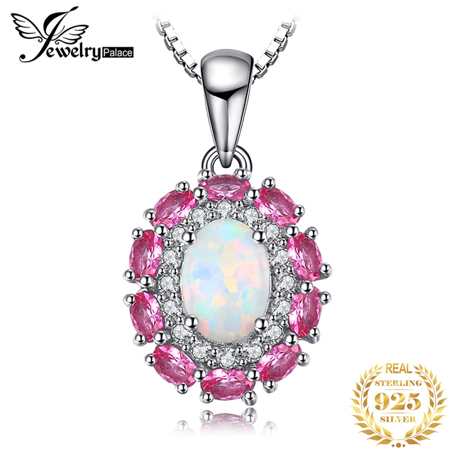 Created Created Opal Pink Sapphire Pendant Necklace 925 Sterling Silver Gemstones Choker Statement Necklace Women Without Chain