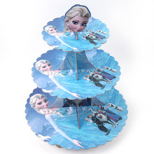 1 Set 3 Tier Frozen Princess baby shower birthday party cardboard cupcake stand Party supplies(China)
