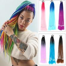 Azqueen kucyk peruka z gumką gumka do włosów szydełkowe syntetyczne warkocze kucyk warkocze do przedłużania włosów różowy Rainbow tanie tanio Proste CN (pochodzenie) Wysokiej Temperatury Włókna 60 g sztuka 1 sztuka tylko Ombre