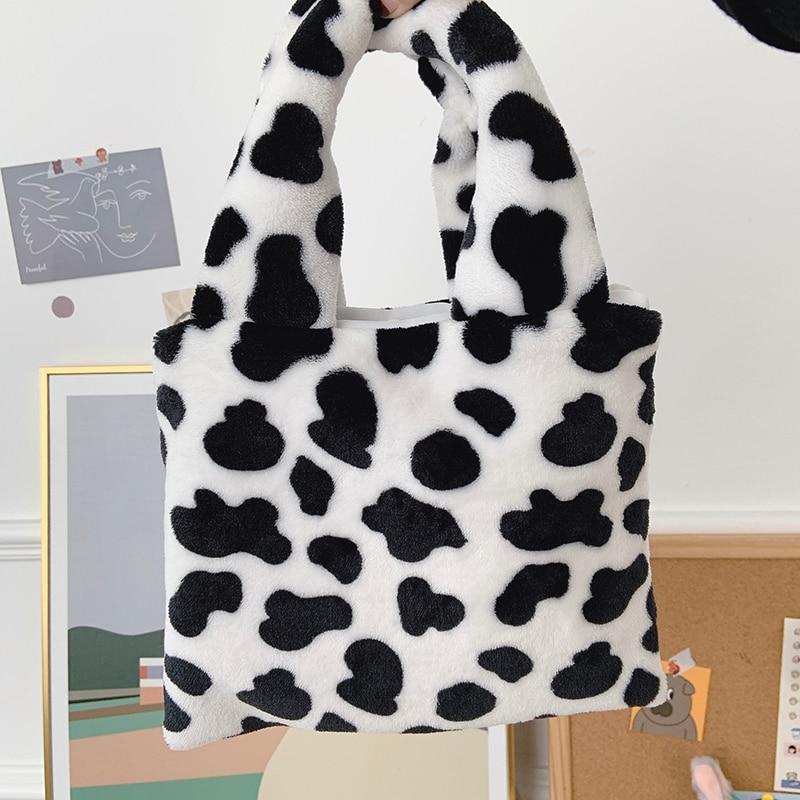 Plush Shoulder Bag Cute Winter Cartoon Handbags Milk Cow Pattern Hand Bag  Women Solid Color Ladies Bag Tote Size 20*26cm