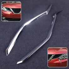 лучшая цена DWCX 2pcs ABS Car Front Grille Grill Mesh Cover Insert Molding Trim Silver Fit For Nissan Qashqai J11 2014 2015 2016 2017