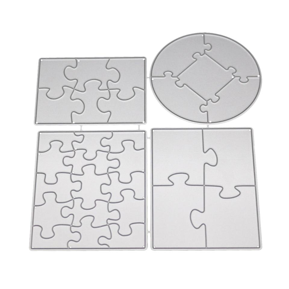 Rectangle Round Metal Cutting Dies Stencil Fun Puzzle Craft Cut Die Scrapbook DIY Handmade Album Paper Cards Decor Dies