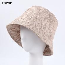USPOP новый женщин ведро шляпы сплошной цвет складки bucekt дышащий шляпа солнца летом