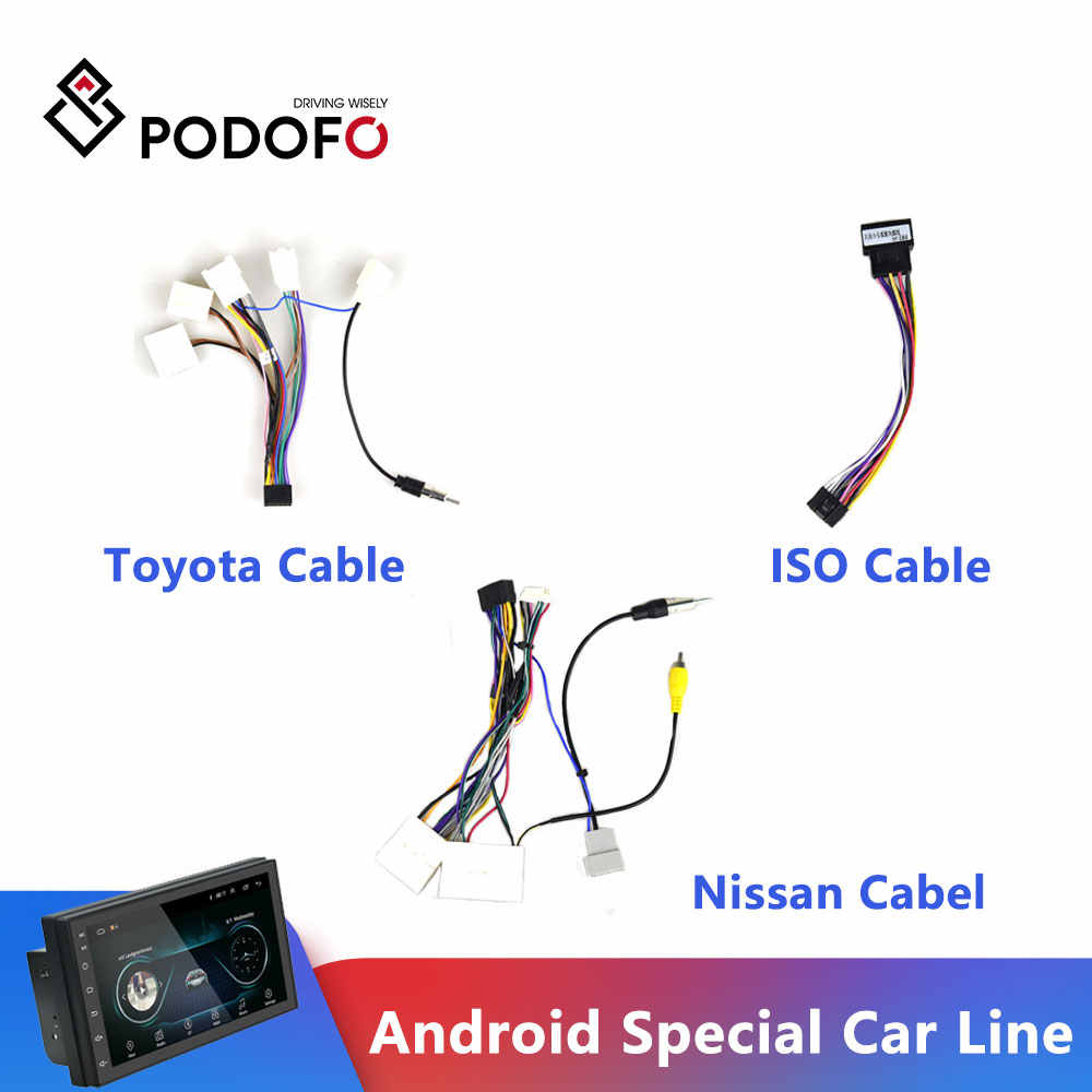 Podofo Android radio Auto Accessoires Wire Kabelboom Adapter Connector Plug Universele kabel Voor Focus Kia Nissian Toyota