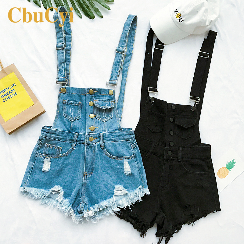 Women Denim Playsuits 2020 Chic Cotton Strap Rompers Shorts Women Clothing Loose Casual Overalls Shorts Rompers Female Playsuits