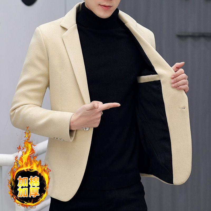 2020 Male Taxi Thick Velvet Leisure Suit Slim Woolen Solid Color Trend Handsome Young Single Suit