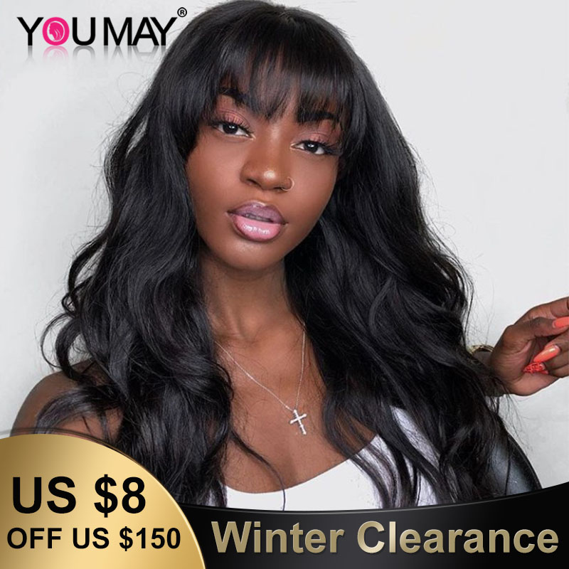 Body Wave 360 Lace Frontal Wig With Bangs 180 Density Fake Scalp 13X6 Brazilian Lace Front Human Hair Wigs For Women Remy YouMay