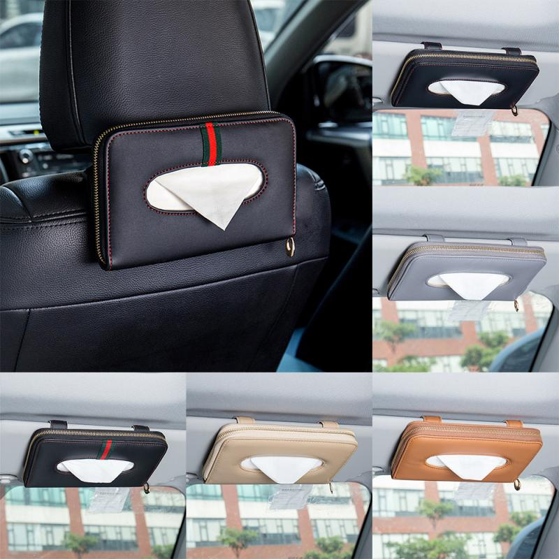 Car Tissue Box Towel Sets Car Sun Visor Seat Back Tissue Box Holder Auto Interior Storage Decoration For BMW Benz Auto Interior