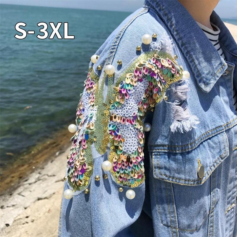 Studded Pearl & Sequin Denim   Jacket   Women Jeans   Jacket   Vintage 80s Oversize Long Sleeve   Basic     Jackets   Plus Size 5XL