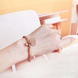 CIBO popular fashion simple letters round bead titanium steel bracelet peach heart pendant joker ladies accessories