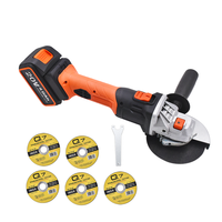 Electric Cordless Angle Grinder 4 1/2inch with 115mm with 5pcs Cutting Abrasive Wheels Power Tools For Metal Wood