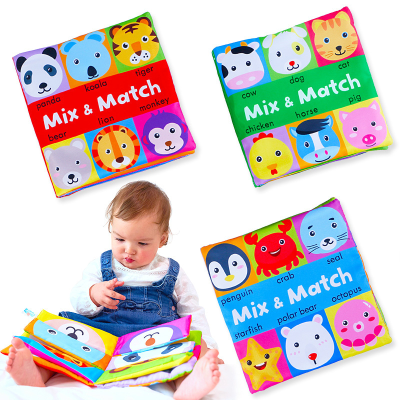 Cartoon Animal Face Matching Cloth Book Torn Baby Stereo Cloth Book Montessori Early Teaching Toddler Books