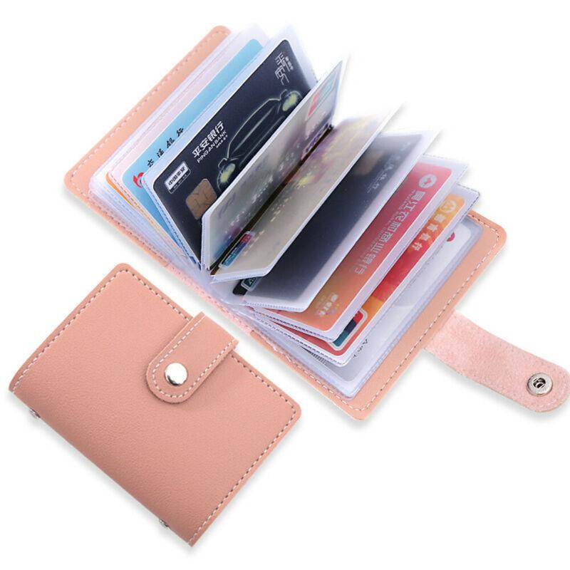 Women's 26 Cards Slim PU Leather ID Credit Card Holder Pocket Case Purse Wallet
