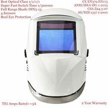 Capacete de soldagem 100*65mm 1111 4 sensores din 3/4 13 mma mig/mag tig en379 cert solar escurecimento automático máscara de soldagem