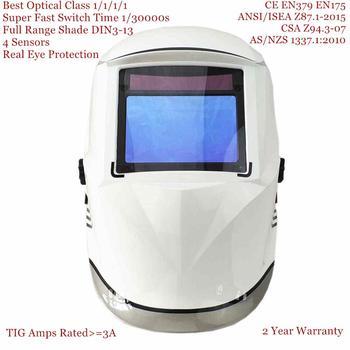 Casque de soudage 100*65mm 1111 4 capteurs meulage DIN 3/4-13 MMA MIG/MAG TIG CE/UL/CSA/AS masque de soudage à assombrissement automatique solaire Cert