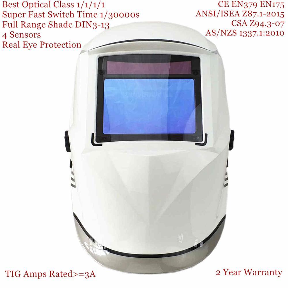 Welding Helmet 100*65mm 1111 4 Sensors Grinding DIN 3/4-13 MMA MIG/MAG TIG EN379 Cert Solar Auto Darkening Welding Mask