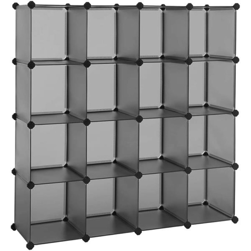 Cubes Storage Bookshelf Rack 16 Cube Book Shelf Closet Organizer Stand Bookcase Strong and Durable Gray/Black Color[US Stock]