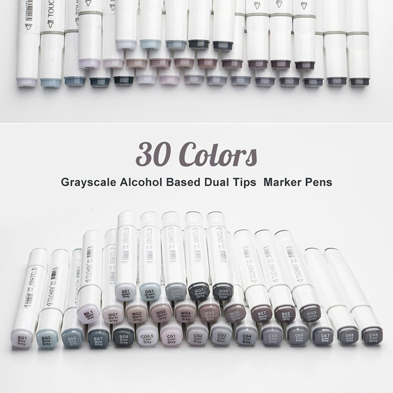 Art Marker Pen 30 Colors Double Ended Sketch Alcohol Based Ink Neutral Gray Tone
