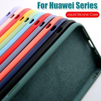 Перейти на Алиэкспресс и купить Чехол для Huawei P40 Lite P30 P20 Honor 30 30S V30 20 Play 4T Pro 9A X10 Max, жидкие силиконовые чехлы для Huawei Mate 30 Lite, чехол