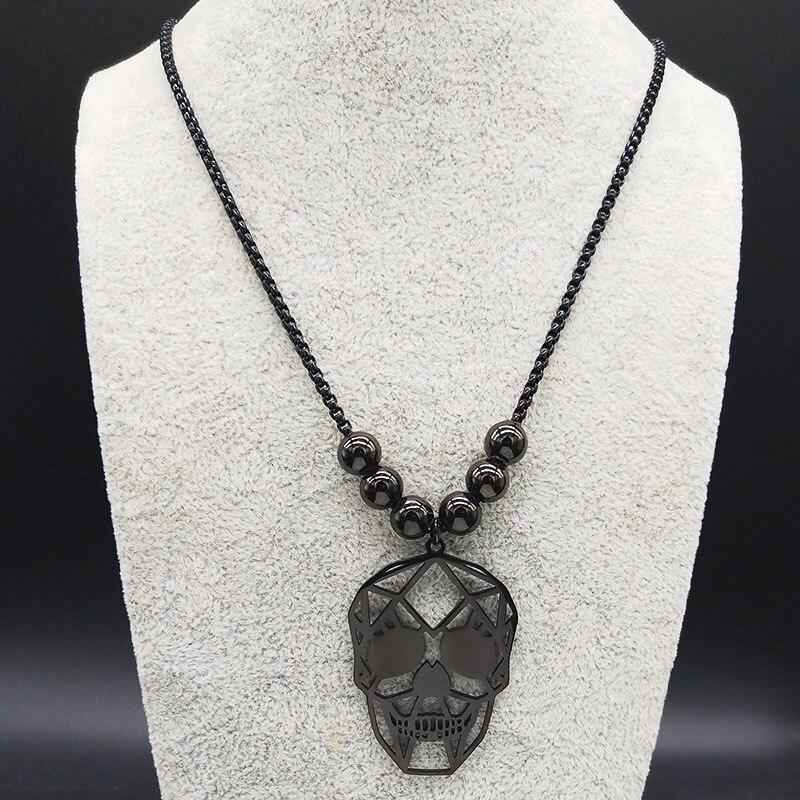Collier tete de mort perle noir 4