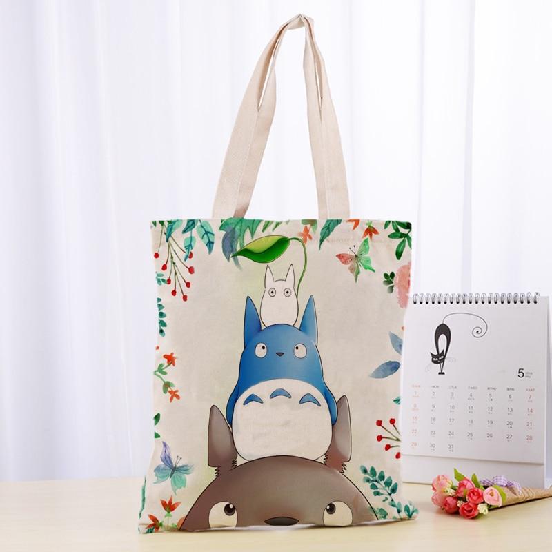 High Quality C4115 Totoro Canvas Tote Bag Fashion Durable Women Student Cotton Linen Handbag Printed Shopping Bags Custom Logo