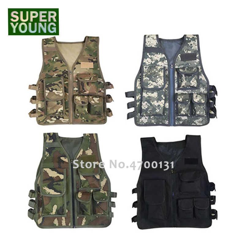 Militer Anak-anak Kamuflase Berburu Pakaian Pria Peralatan Tempur Tentara Taktis Rompi Anak Cosplay Kostum Airsoft Sniper Seragam