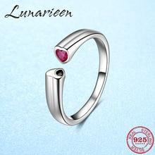 Подлинное 925 пробы серебро бесплатная Размеры регулируемое кольцо с открытым Размеры кольца для Для женщин розовый циркон сердца anillos
