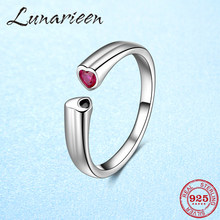 Authentic 925 Sterling Silver Free Size Adjustable Ring Open Size Finger Rings for Women pink zircon hearts anillos(China)