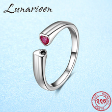 Otantik 925 ayar gümüş ücretsiz boyutu ayarlanabilir halka açık boy parmak yüzük kadınlar için pembe zirkon kalp anillos