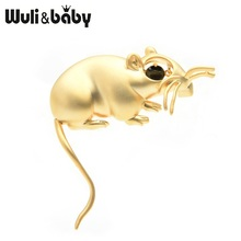 Wuli&baby Black Gold Mouse Brooches Women Men Enamel Rat Animal Brooch Pins Gifts