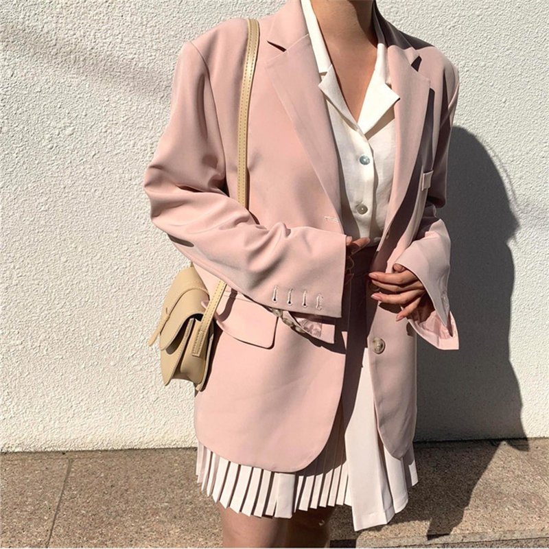 HziriP Gentle Pink Full Sleeves All Match Autumn 2020 Slender Chic Loose Plus Size Streetwear High Quality OL Women Blazers