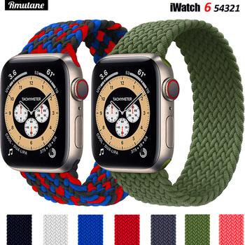 Pleciona pętla Solo dla Apple watch band 44mm 40mm 38mm 42mm tkanina nylonowa elastyczna bransoletka z paskiem iWatch seria 3 4 5 se 6 pasek tanie i dobre opinie RMUTANE CN (pochodzenie) inny Paski do zegarków Fabric Nowość bez znaczków 44 42 40 38 mm for applewatch aple aplle applle i watch 3 2 1