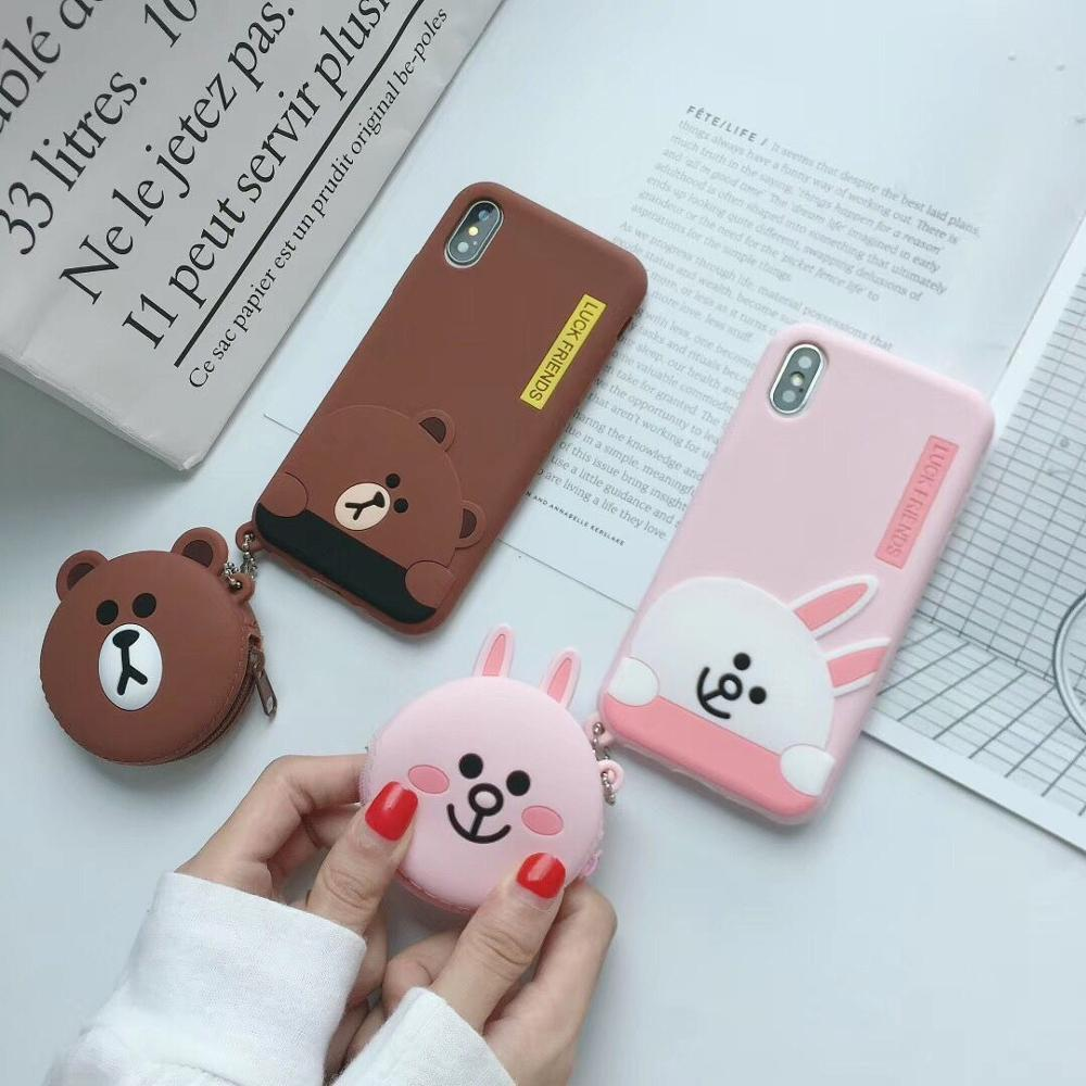 Cute 3D Korean Bear Rabbit Cartoon Wallet Phone Case For iPhone X XS MAX XR 6 6s 7 8 Plus Soft Silicone Cover new!