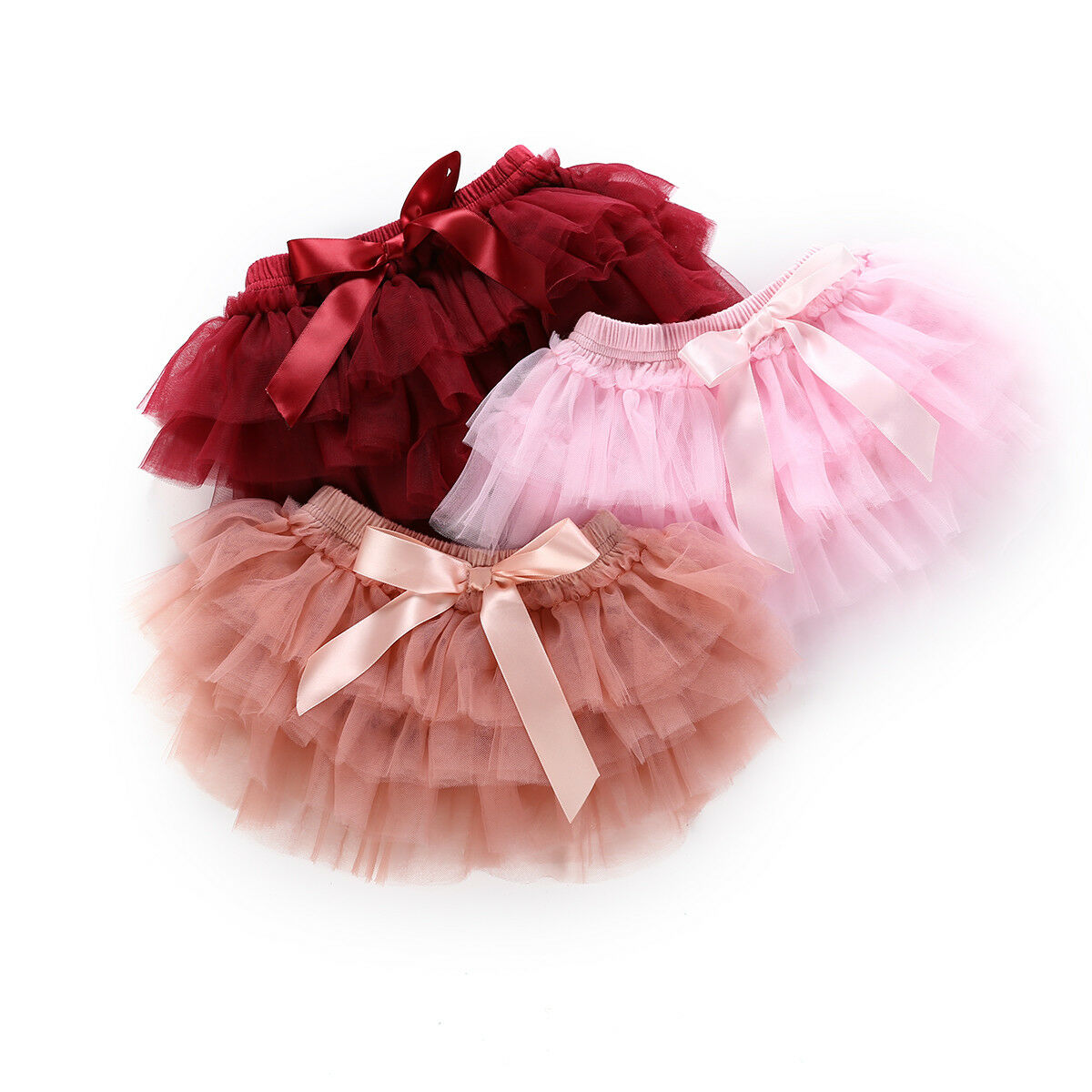 0-24M Infant Newborn Baby Girls Tutu Skirts Princess Bow Tulle Ball Gown Skirts Christmas Baby Girl Red Costumes + Headband