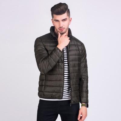 Мужская зимняя куртка ультра светильник 90% белый утиный пух куртки повседневное портативное зимнее пальто для мужчин размера плюс 4XL 5XL 6XL - Цвет: Army green