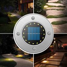 Outdoor Stainless Steel Solar Powered 16LED Tahan Air Lampu Taman Lampu Taman Lampu untuk Halaman Dek Halaman Teras Plaza(China)