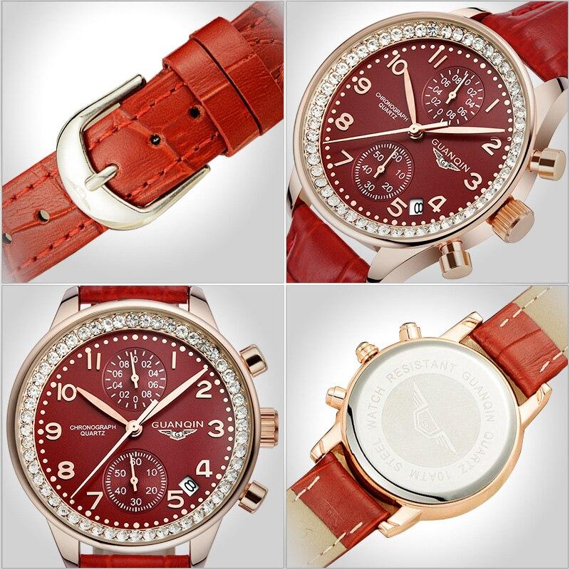 GUANQIN GQ15008 lady Chronograph series quartz watch women fashion luxury watch female Austria Diamond red Leather strap - 6