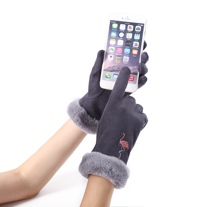 Female Winter Cute Flamingo Touch Screen Gloves Cartoon Suede Warm Plus Velvet Thickening Cold Riding Driving Gloves D56E