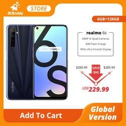 Realme 6s NFC Смартфон глобальная версия 6 ГБ 128 Гб мобильный телефон 90 Гц 6,5 ''дисплей 48MP AI Quad Camera 4300mAh 30W Flash Charge