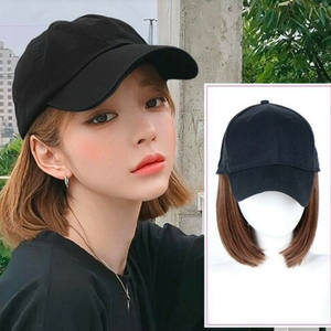 Baseball-Hat Wigs Short-Hair Synthetic Casual Summer Women with Wig-Cap Adjustable